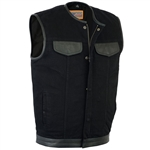 Leather & Black Denim Motorcycle Vest: Collarless