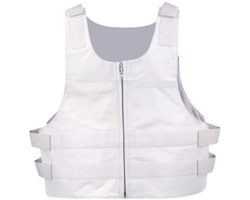 Men S Leather Vest White Bullet Proof Style Leather