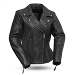 Soft Cowhide Womens Leather Motorcycle Jacket