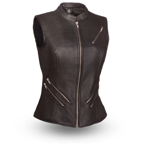 Women's Leather Motorcycle Vests - Zip Style