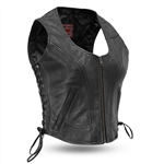 Women's Zip Leather Motorcycle Vests - Side Lace