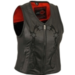 Women's Motorcycle Vest with Reflective Stars