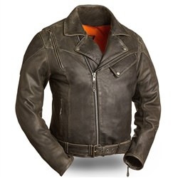 Mens Distressed Cowhide Leather Motorcycle Jacket: First Classics