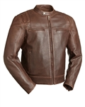 Updated Scooter Style Brown Leather Motorcycle Jacket