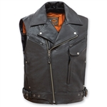 Leather Biker Jacket Motorcycle Vest - Reckless Outlaw