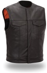 Classic Black Leather Motorcycle Vest