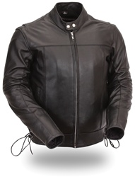 Mens Leather Motorcycle Jacket: Side Laces
