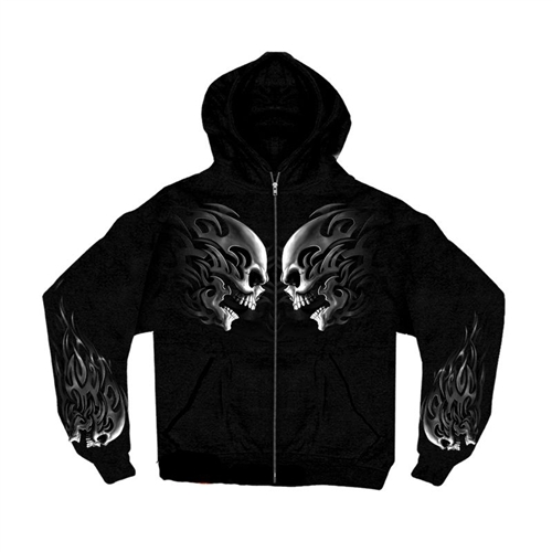 Biker Clothing Tribal Skull Head Butt Zip Up Black Sweat