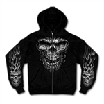 Biker Shirts: Skull Hoody - Zip-Up