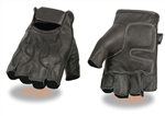 Fingerless Leather Motorcycle Gloves: Black Flame