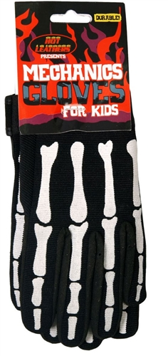 Kids Skeleton Mechanics Gloves Biker Gloves Leather