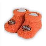 Harley-Davidson Baby Clothes: Orange Booties