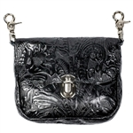 Embossed Floral Leather Hip Purse: USA Made