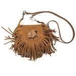 Brown Leather Fringe Clip Bag