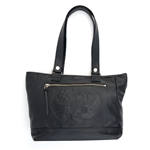 Soft Black Leather Tote Bag: Skull & Wings