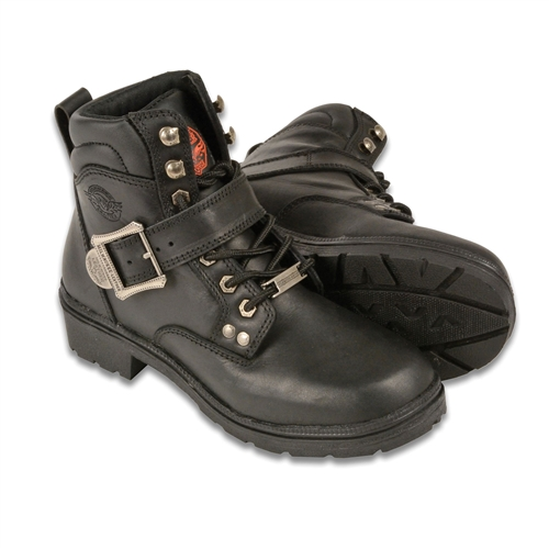 milwaukee leather womens motorcycle boots leather bound