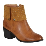Milwaukee Biker Boots: Ladies Brown Studded