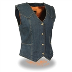 Women's Denim Motorcycle Vest: Milwaukee