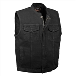 Black Denim Motorcycle Vest: SOA Zipper Biker Vest