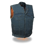 Men's Denim Motorcycle Vests: Milwaukee Zipper Biker Vest