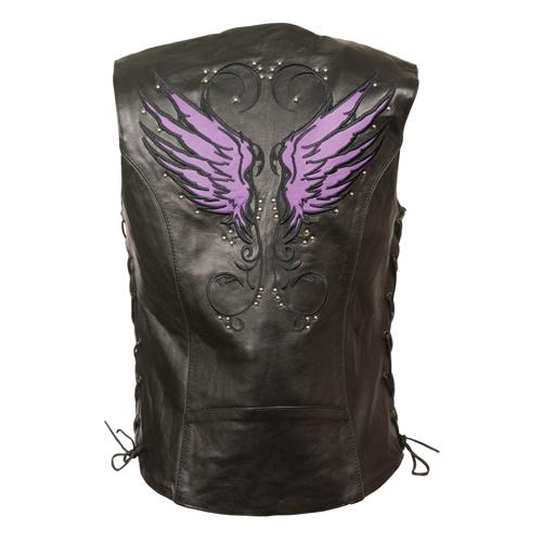 Womens Leather Motorcycle Vests Milwaukee Purple