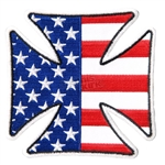 Iron Cross American Flag Biker Patches