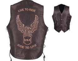 """Live to Ride"" Motorcycle Mens Leather Vest"