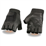 Men's Textile Leather Fingerless Motorcycle Gloves