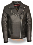 Women's Leather Motorcycle Jackets: Classic Braided