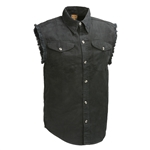 Cutoff Black Denim Motorcycle Vest