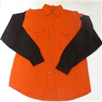 Mens Denim Motorcycle Shirt -  Black & Orange