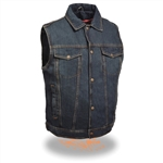 Men's Blue Denim Motorcycle Vest from Bikers Edge