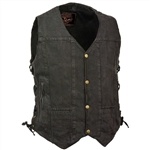 Black Denim Motorcycle Vest for Men