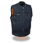 Men's Anarchy Denim Motorcycle Vest: Gun Pocket
