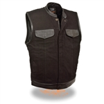 Men's Black Denim Motorcycle Vests Leather Trim
