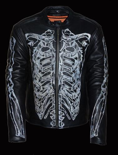 Men S Leather Motorcycle Jacket Reflective Skeleton