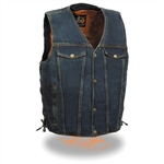 Men's Denim Motorcycle Vest: Gun Pocket