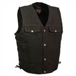 Black Denim Motorcycle Vest: Gun Pocket