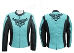 Turquoise Black Textile Women's Motorcycle Jacket