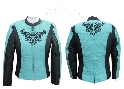Women S Motorcycle Jackets Turquoise Textile On Sale Now