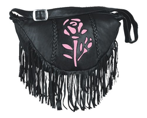 Womens Leather Fringe Pink Rose Hand Bag Purse Leather