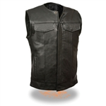 Collarless Leather Motorcycle Vest - Zipper SOA Style