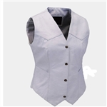 Women's Basic White Leather Motorcycle Vest