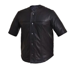 Lightweight Short Sleeve Leather Shirt: Baseball Style.