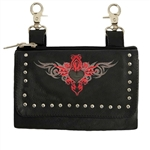 "Ladies Leather ""Hip Purse"" - Red Tribal Design"
