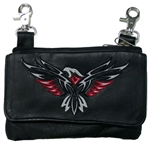 "Biker Leather ""Hip Purse"" - Red Embroidered Eagle"