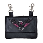 "Biker Leather Clip On ""Hip Purse"" - Eagle Design"