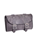 Unik Motorcycle Gray Distressed Leather Tool Bag