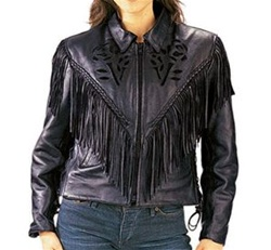 Women's Motorcycle Jacket - Fringe & Rose Cut-Outs