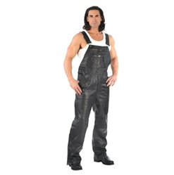 Men's Leather Overalls Bib Pants: Motorcycle Style